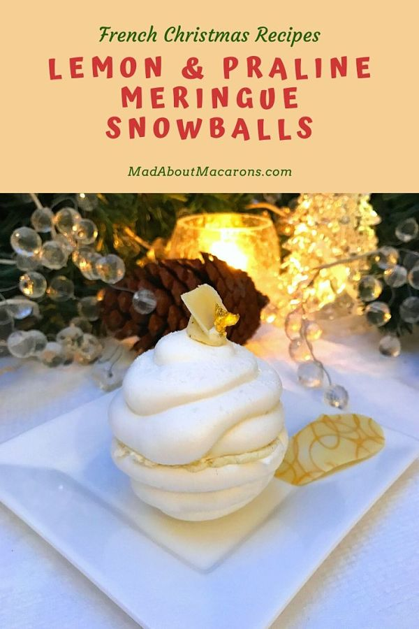 Lemon Praline Meringue Snowballs