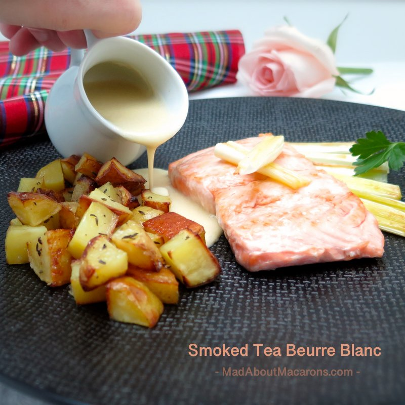 healthy salmon smoked tea beurre blanc sauce