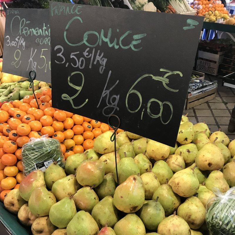 Comice pears Parisian market