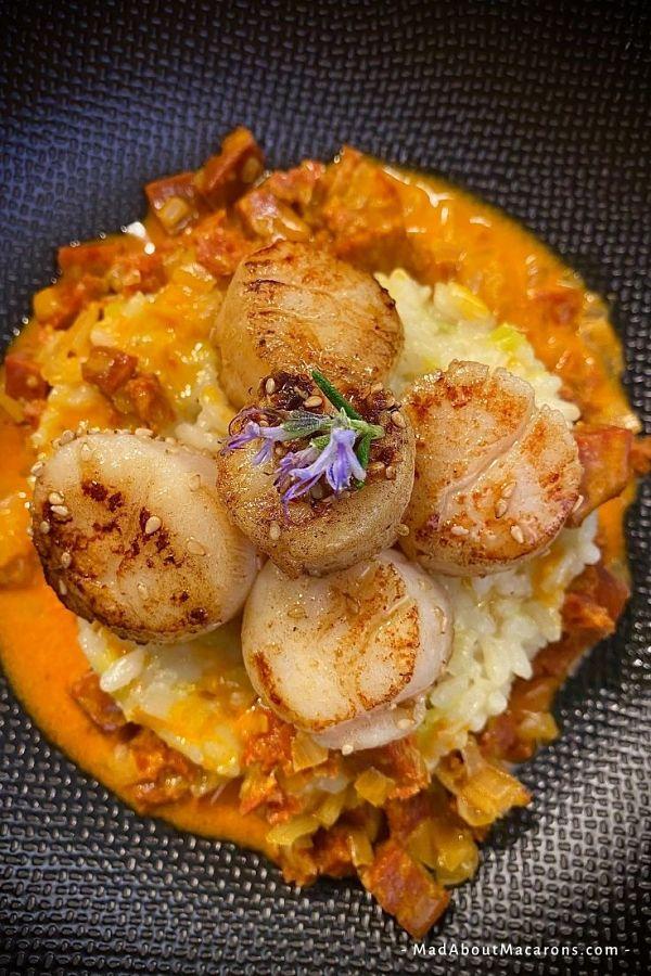 chorizo risotto prawns seared scallops