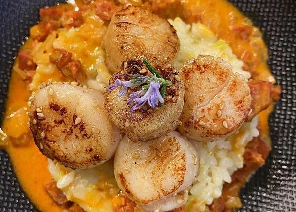 chorizo risotto scallops