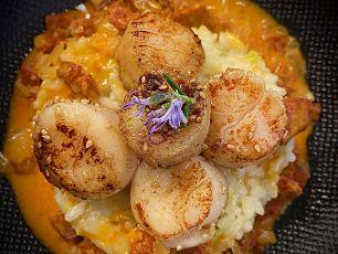 chorizo risotto scallops opt